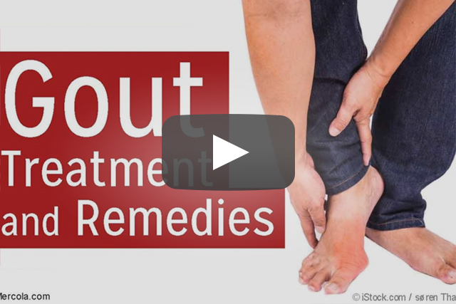 """man rubbing foot with gout: titled """"gout treatment and remedies"""""""
