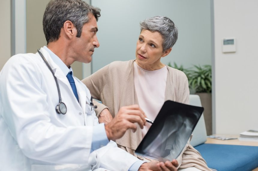 Osteoporosis screening in an older woman.