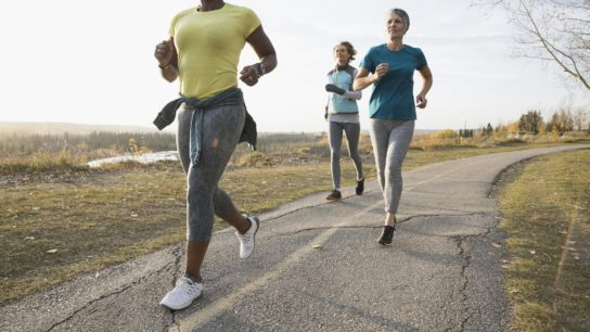Women running through the park, exercise, jogging