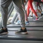 person walking on treadmill