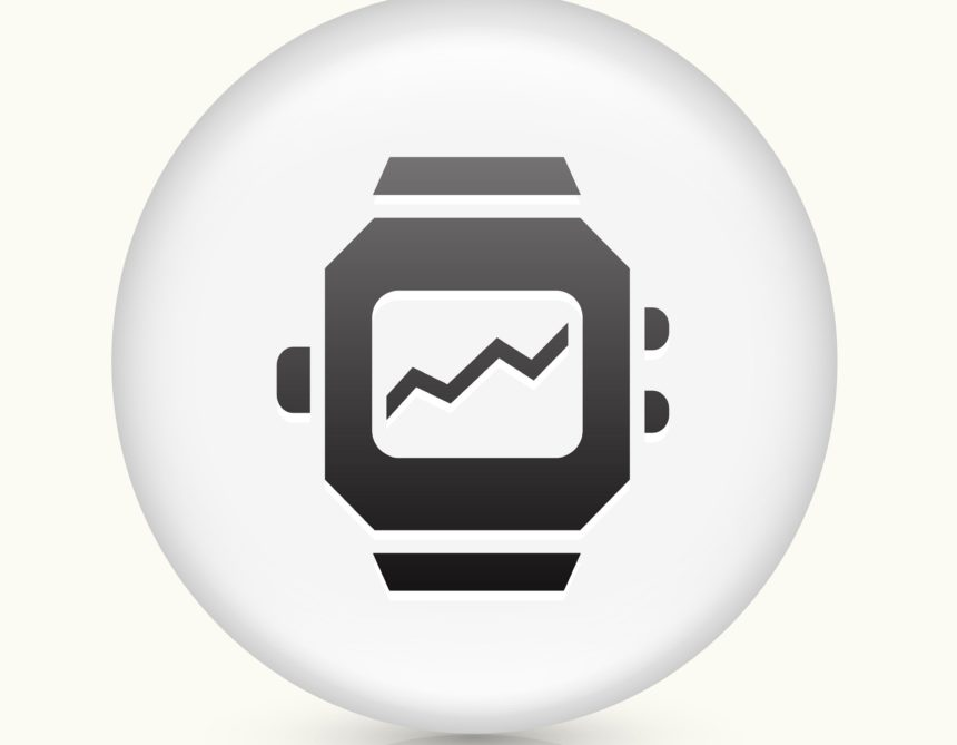 Watch icon on vector button