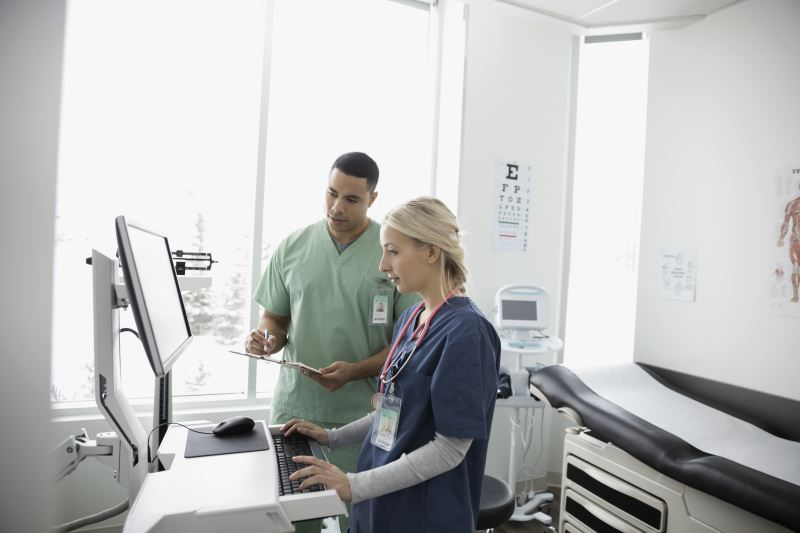 Two doctors using a computer