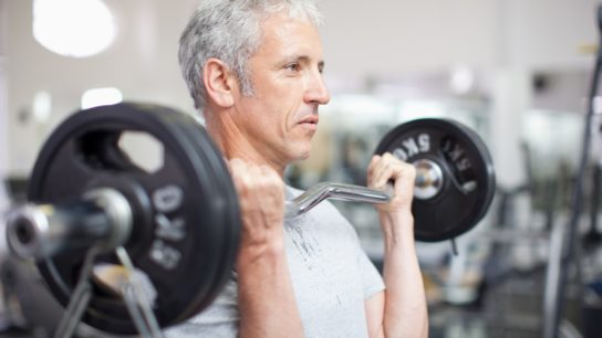 middle aged man exercising