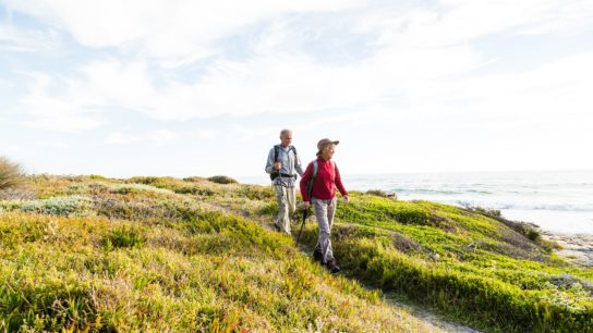 elderly couple hiking, exercise, physical activity