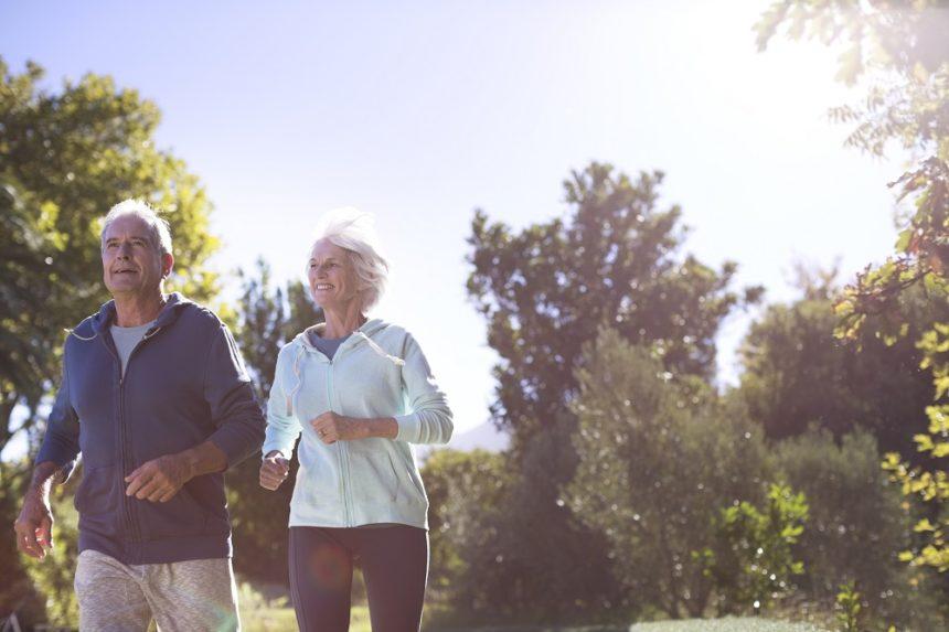 elderly couple running, exercise, physical activity