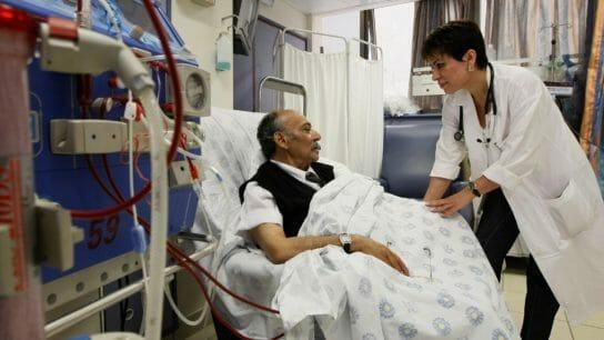 dialysis patient speaking to doctor
